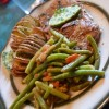 Steak, Green Beans and Hasselback Potatoes on Mother's Day