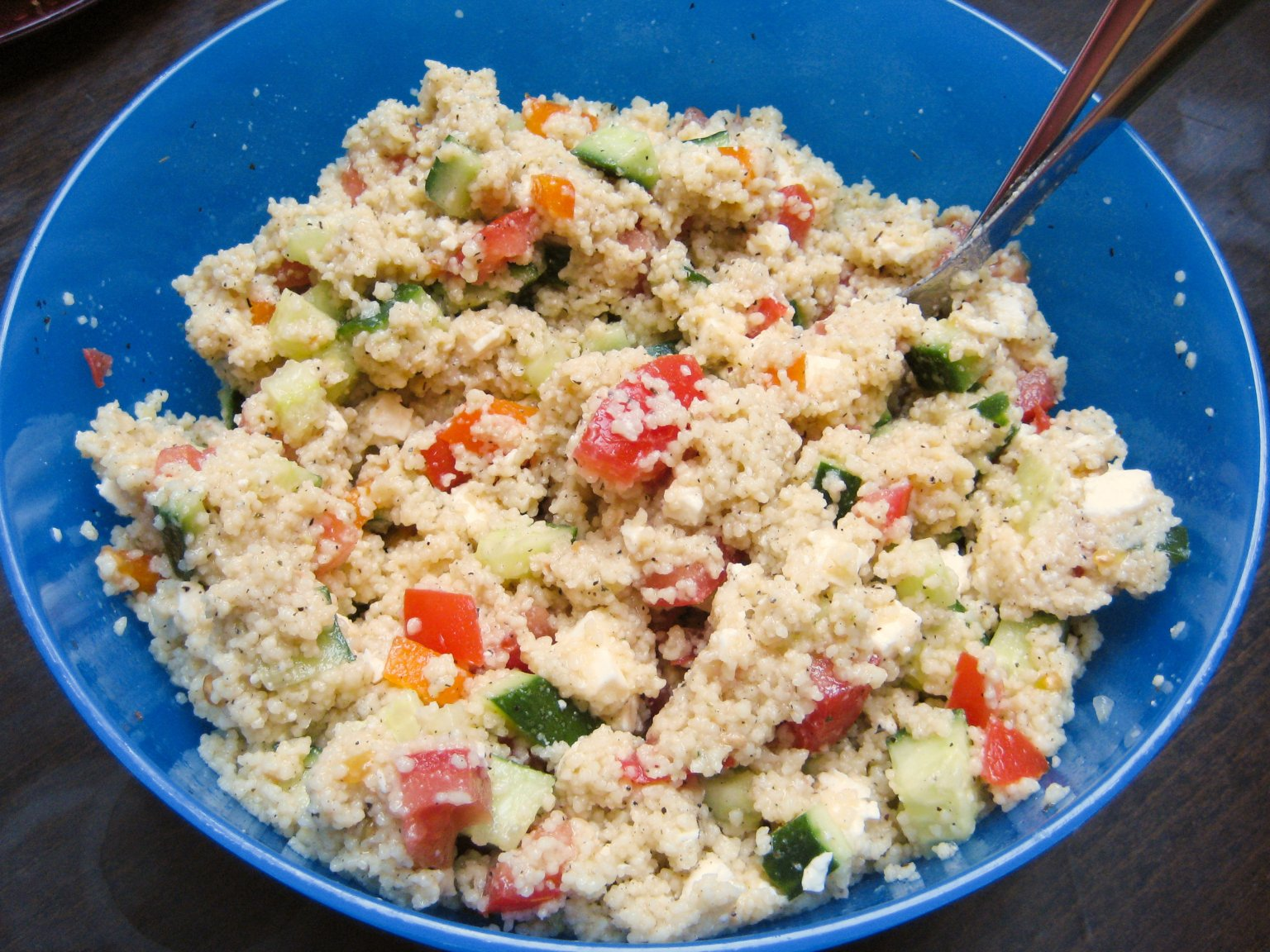 simple everyday couscous salad with tomatoes and cucumber recipe