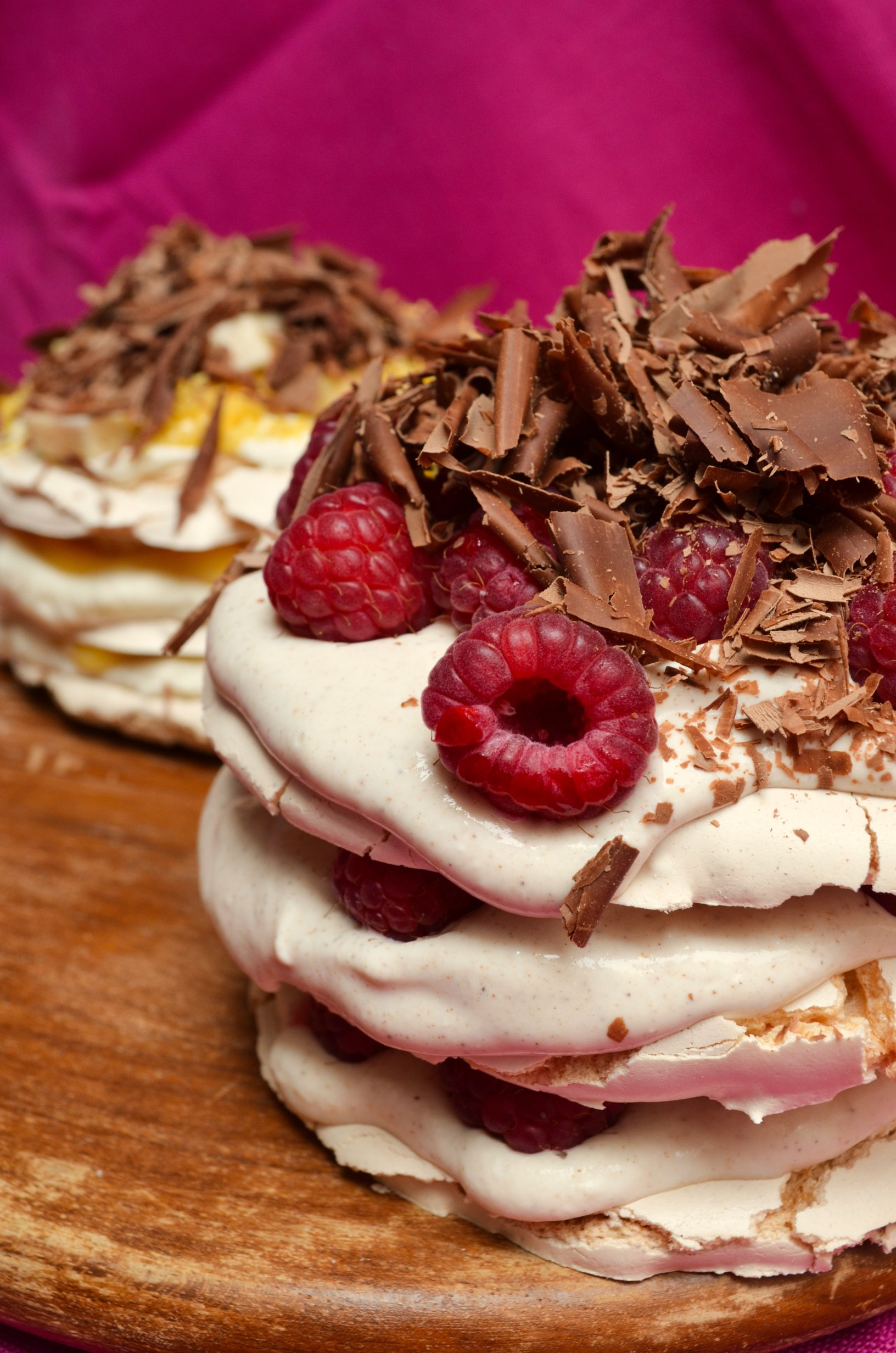 Donal Skehan's Mini Pavlovas with Raspberries, Chocolate and Lemon Curd by ginger, lemon & spice