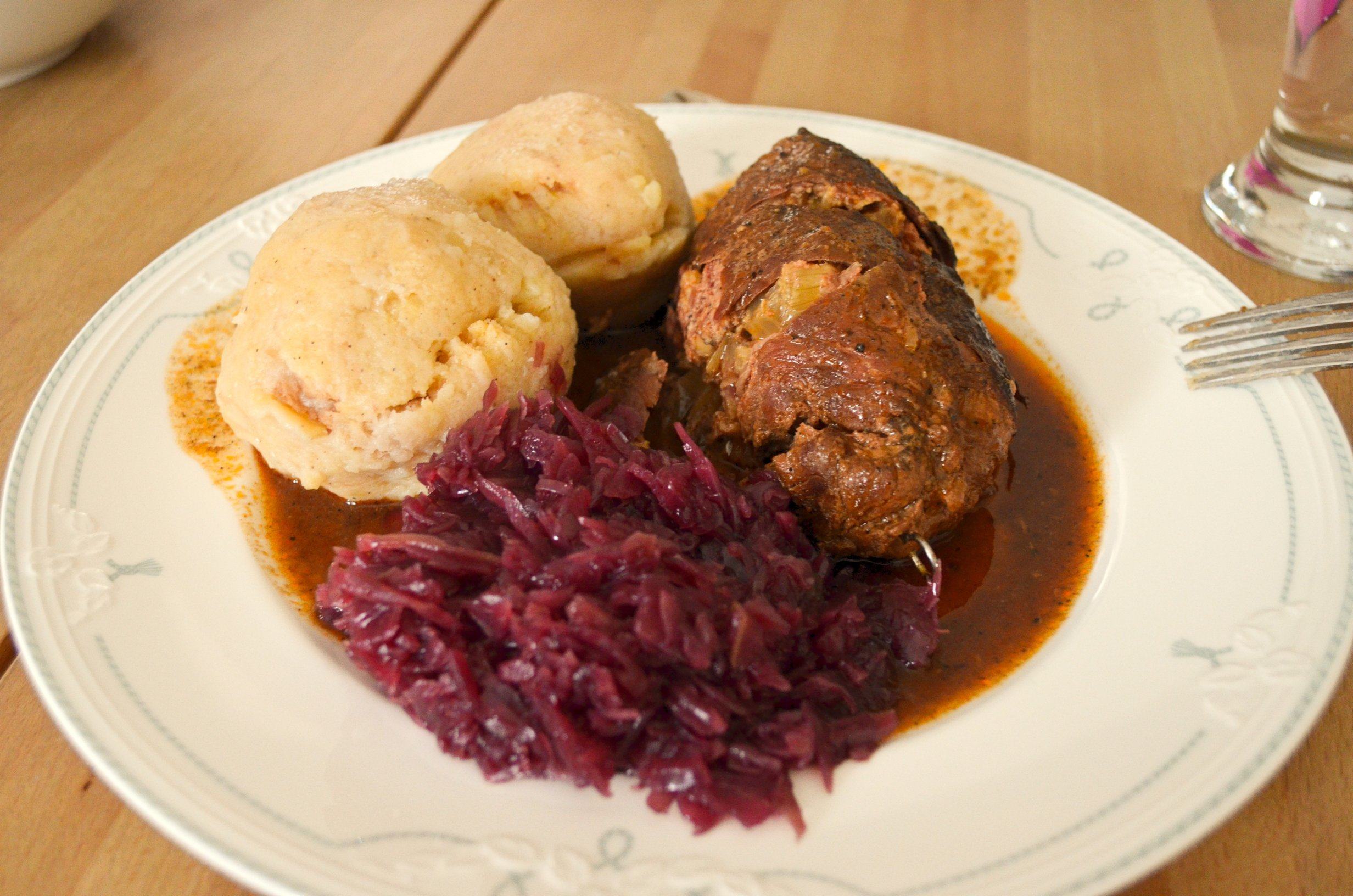 Traditional German Holiday Dish- Rouladen & Knödel with red cabbage