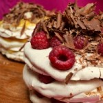 Mini Pavlovas with Lemon Curd, Raspberries and Chocolate