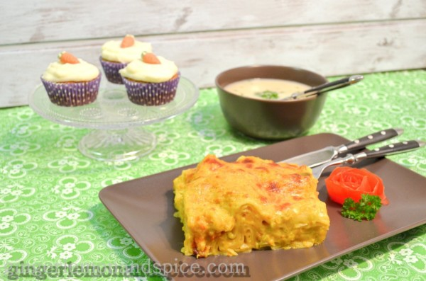 Parsnip and Lemon Soup, Pumpkin and Leek Lasagna,  Carrot Cupcakes with Mascarpone Frosting by www.gingerlemonandspice.com